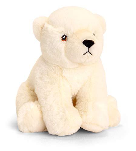 tachi Stofftier Bär weiß, Plüschtier Eisbär für Kleinkinder, Weicher Kuscheltier Teddy 18 cm sitzend