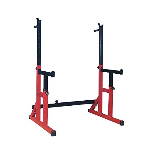 HH66 Teoh Bodybuilding Adjustable Squat Rack Multi Position Spotter, Dip Bars & Weight Plate Holders