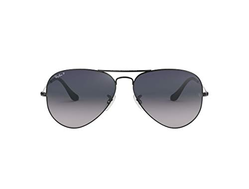Ray-Ban RB3025 - Gafas de sol polarizadas unisex con gradiente aviador (marco de plomo/lente gris degradado azul polarizado 004/78, 58)