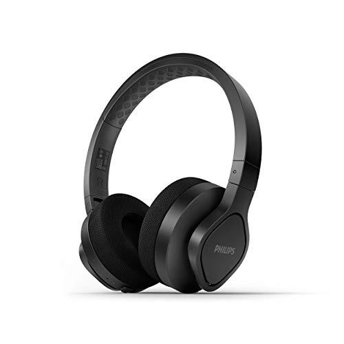 PhilipsA4216BK 00 Auriculares Deportivos Inalámbricos (De Diadema, 35 Horas de Reproducción, Protección IP55, Almohadillas Refrescantes, Almohadillas Lavables) Negro - Modelo de 2021 2022