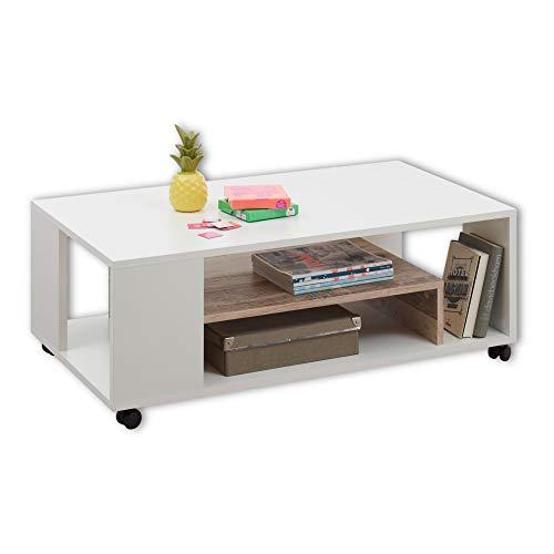 BOLOGNA Moderner Couchtisch auf Rollen in Weiß, Old Style Optik - mobiler Sofatisch mit Ablage für Ihren Wohnbereich - 108 x 40 x 60 cm (B/H/T)