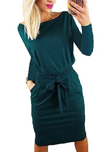 PRETTYGARDEN Women's 2063 Casual Long Sleeve Party Bodycon Sheath Belted Dress with Pockets Dark Green