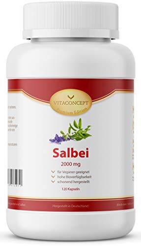 Salbei Kapseln I Hochdosiert I 2000 mg pro Kapsel I 120 Stück I Salbei Extrakt Laborgeprüft I Vegan I Made in Germany von VITACONCEPT