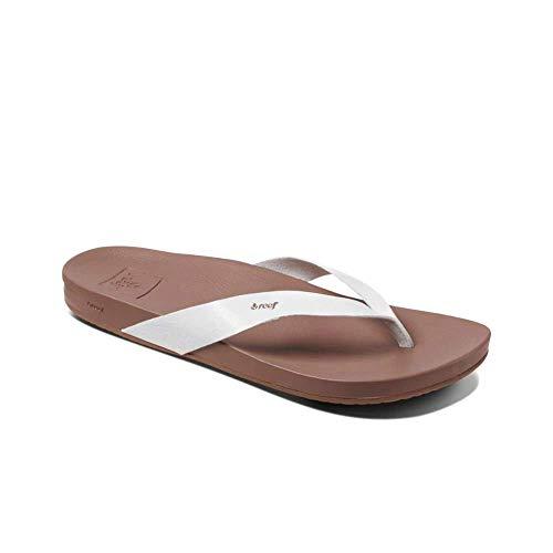 Reef Women's Sandals Cushion Bounce Court   Vegan Leather Flip Flops Straps   Cloud   Size 10