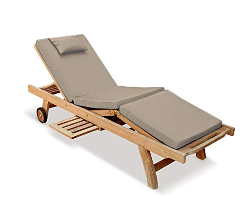 Jati Sun Lounger with adjustable knee section and Taupe Cushion Brand, Quality & Value