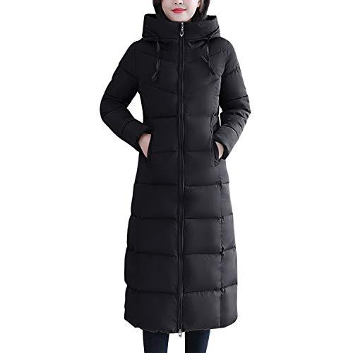 semen Damen Daunenmantel Lang Gefüttert Daunen Mantel mit Stehkragen Kapuzen Taschen Winter Outwear