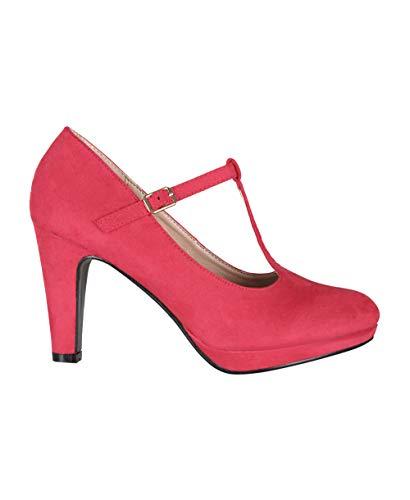KRISP Zapatos Tacón Ancho Mujer Oferta Fiesta Salón Elegante Boda Básicos Plataforma Calzado Cómodo, Rojo (3722), 38 EU (5 UK), 3722-RED-5