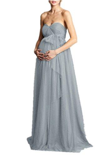 Promworld Abendkleid für Schwangere Frauen Tüll Brautjungfer Abschlussball Umstandskleid Gr. 36, Maya-Blau