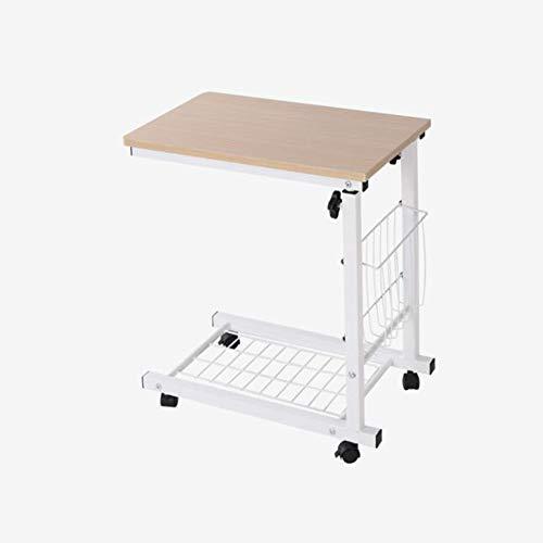QIDI Laptop-Tisch Falten Stand Schreibtisch Wagen Lager Lapdesk Mausbrett Verstellbare Höhe Abschließbar Rollen Sofa Bett Büro Tragbar Beweglich (Farbe : Beige)