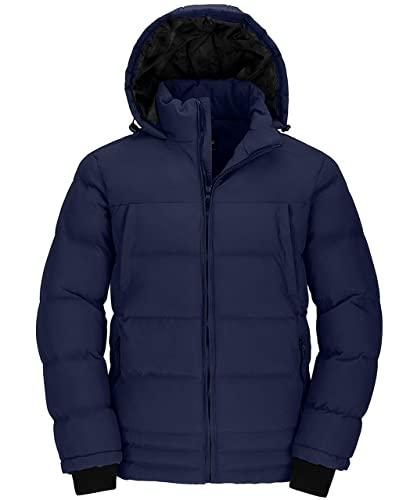 Wantdo Abrigos Cálido Invierno Chaquetas Acolchada a Prueba de Viento Abrigos Forro Polar Grueso Abrigos Hombre Invierno Elegante Hombre Azul Marino Medium