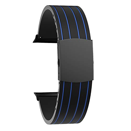 SOUWILA Compatible con Silicona Correa Reloj 38 mm 40 mm 42 mm 44 mm iWatch Series 6/5/4/3/2/1 Caucho Correa Reloj con Acero Inoxidable Hebilla Desplegable (38mm, Blue-Black)