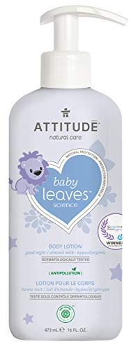 ATTITUDE Natural Baby Body Lotion for Sensitive Skin, EWG Verified, Hypoallergenic, Dermatologist Tested, Almond Milk, 16 Fl Oz