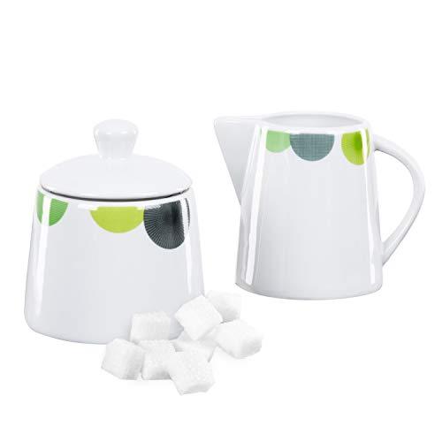 Van Well | 2-TLG. Geschirr-Set Rondo: Zucker-Dose + Milch-Kännchen | Spender mit Deckel | Gießer | abstrakte Retro-Kreise | edles Porzellan-Geschirr