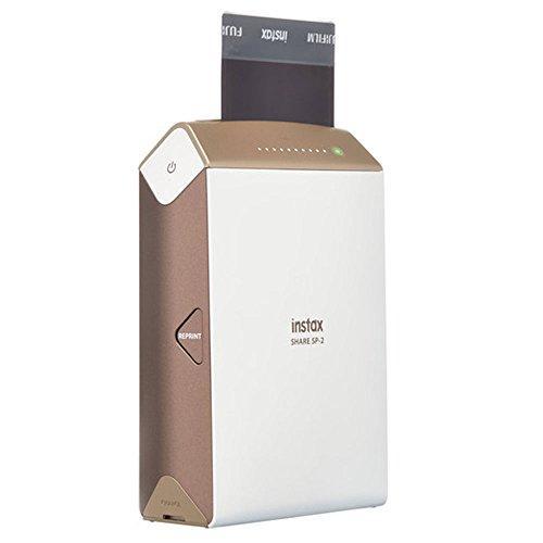 Fujifilm instax Share Smartphone Printer SP-2 (Gold) + Fujifilm Instax Mini Twin Pack Instant Film (60 Shots) + Photo4Less Cleaning Cloth + Portable Printer Bundle