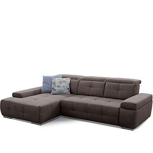 Cavadore Ecksofa Mistrel mit Schlaffunktion, L-Form Sofa mit leichter Fleckentfernung dank Soft Clean, geeignet für Haushalte mit Kindern, Haustieren, 273 x 77 x 173, braun