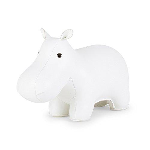 Züny - Fermaporta a forma di ippopotamo, misura grande, colore: Bianco