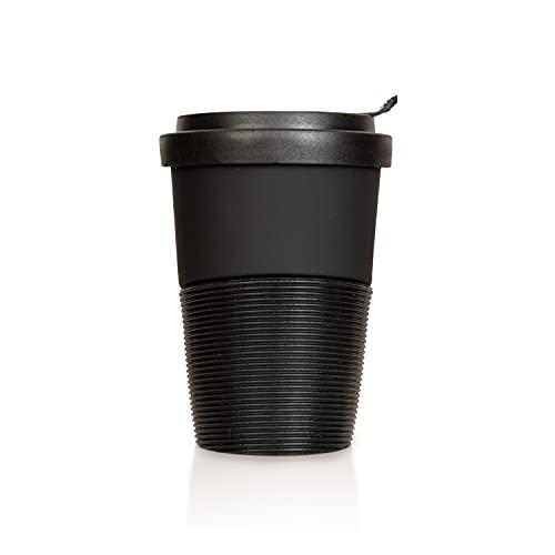 Mahlwerck Wave Kaffeebecher to go, Porzellan Coffee-to-go Becher mit auslaufsicherem Deckel, matt Schwarz, 350 ml