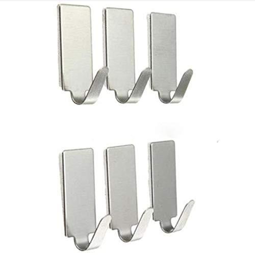 KKAAMYND 6 ganchos autoadhesivos fuertes para colgar en la puerta del hogar, de acero inoxidable, para cocina, baño, plata, el adhesivo importado tiene una viscosidad extremadamente fuerte.