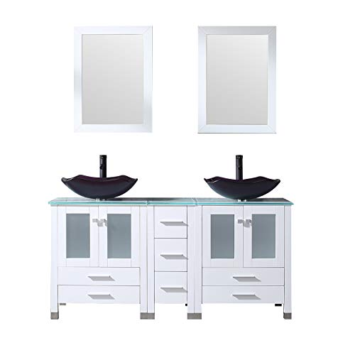 """BATHJOY 60"""" White Bathroom Double Wood Vanities Cabinet with Mirrors Flower Purple Tempered Glass Vessel Sink Combo Oil Rubbed Bronze Faucet Pop-up Drain"""