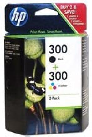 HP 300 CN637EE pack de 2, cartouches d'encre d'origine, imprimantes HP DeskJet, noir, trois couleurs (cyan, magenta, jaune)