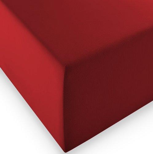 sleepling Komfort Jersey-Elastic Stretch Spannbettuch Spannbettlaken für Matratzen bis 30 cm Höhe (215 gr. / m²) mit 3{a032a5871092226e39024161d1e451b784a75f7b1020c7824b7b6800b69877d0} Elastan 180 x 200-200 x 220 cm, rot