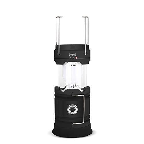 Luces solares LED para camping, ultra brillantes, plegables, impermeables, recargables por USB, para camping, senderismo, emergencia, luz de tienda de campaña, color negro