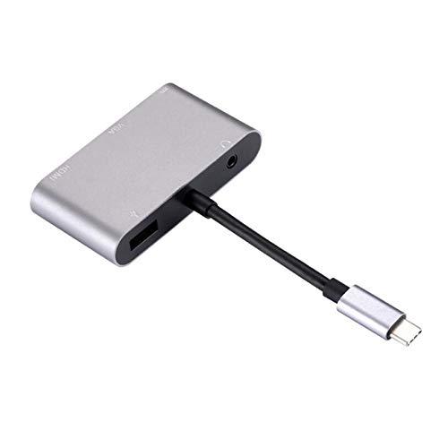 VANOLU 5 en 1 USB C Tipo C A 4K Adaptador Vga Usb3.0 Convertidor de Audio y Vídeo PD Carga Rápida para Pro para