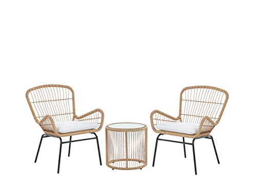 Beliani Modern Outdoor Rattan Bistro Set 2 Chairs with Cushions Round Table Labico