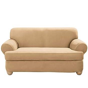 SureFit Home Décor SF36448 Stretch Suede T-Cushion Loveseat Cover Form Fit Machine Washable One Piece Camel Color