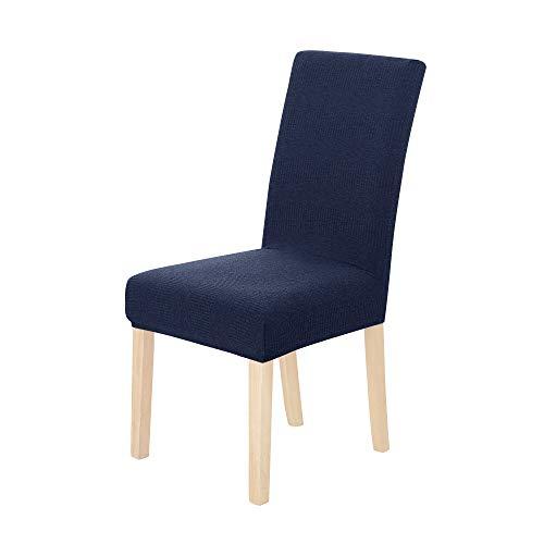 Amazon Brand – Umi Fundas para sillas de Comedor elásticas Suave diseño Ondas Azul Marino(Juego de 4)