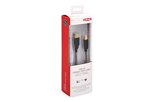 Ednet 948077 - Cable USB (2.0, USB A, USB B), color negro