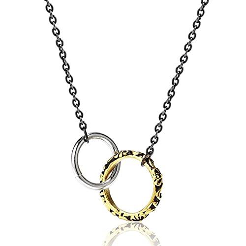 Acero inoxidable doble círculo colgante collar collar hombres mujeres punk rock joyería regalo para él con cadena-Oro