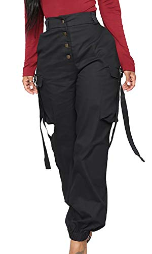 Voghtic Women Casual Cargo Pants Solid Color High Waisted Loose Straight Trousers with Pocket
