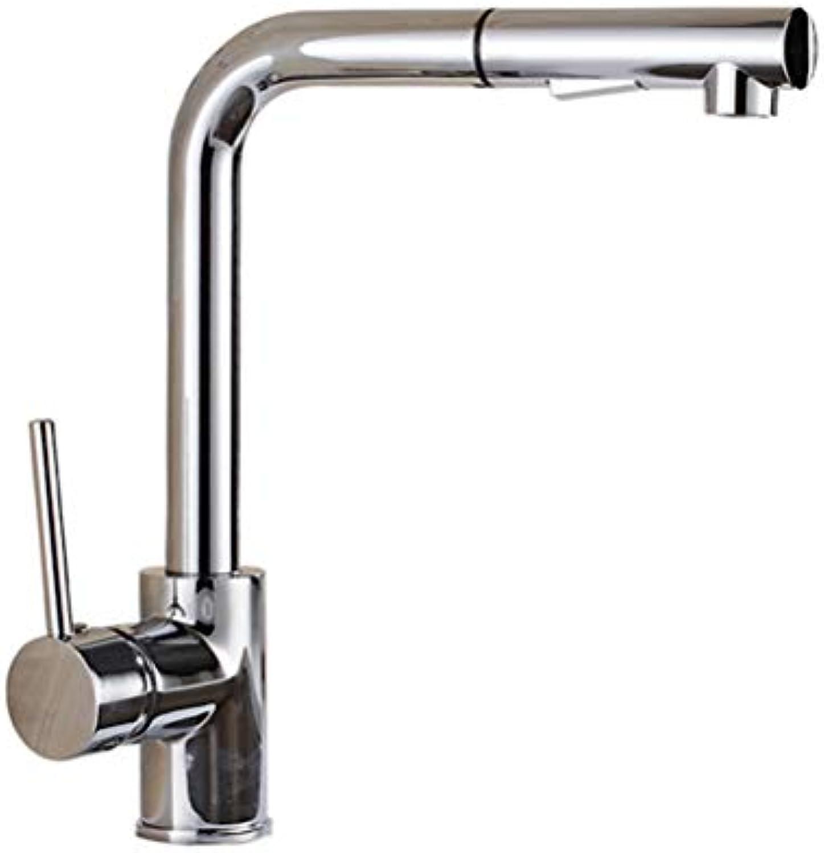 LJIE Küchenarmatur, heier und kalter Sprühkopf mit Zugfunktion, Dual-Mode-Wassersprudler, Einloch-Waschtischarmatur mit Halterung, 60 cm Edelstahlschlauch (verchromt)
