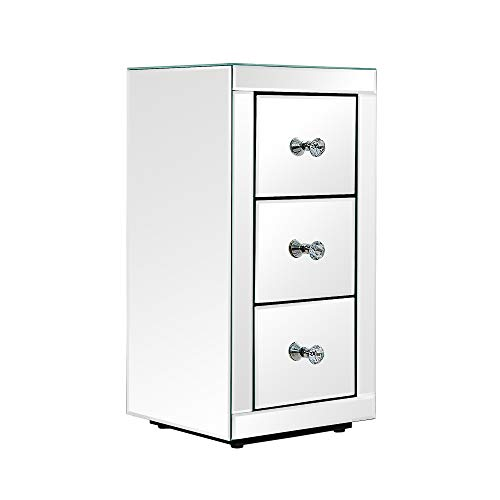 Panana Mirrored Glass Bedside Table With 3 Drawers Bedside Cabinets Crystal Units Nightstand Bedroom Side Tables (Style 3)