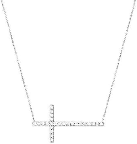 14  WeißGold side-ways seitw s Zirkonia verstellbar Kreuz Halskette 46cm