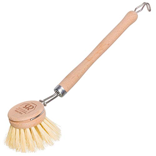 REDECKER Tampico Fiber Dish Brush with Untreated Beechwood Handle, 9-Inches