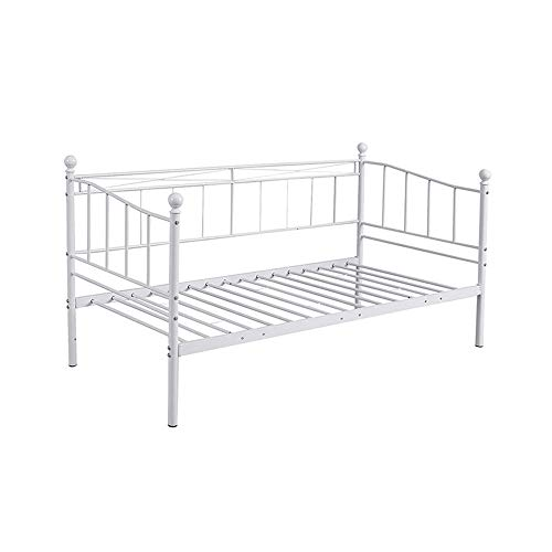 2 Styles Metal Bed Frame Day Bed 3ft Single Sofa Guest Bed Black/White New (Style1 Daybed, White)