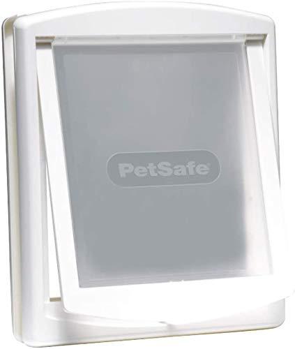 PetSafe – Chatière pour chien et chat Originale Staywell, 2 voies d'accès – entrée et sortie - Porte pour animaux. Résistante, Rigide, Panneau de Fermeture Inclus – Blanc (M)