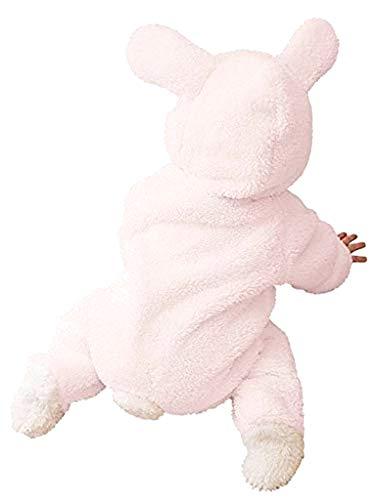 Pigiama coniglietta rosa - pigiamone - tutina - Bambina - neonata - Carnevale - pile - Costume - tutone caldo - rosa - con piedi - Taglia 100 cm - idea regalo originale natale compleanno