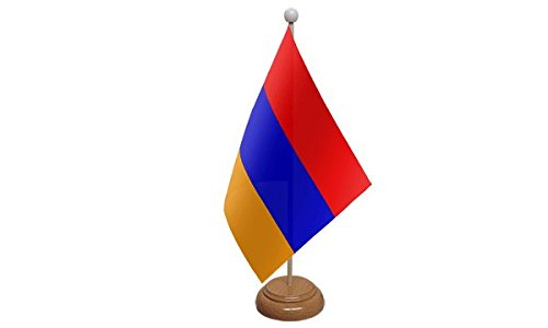 Arménie Drapeau de table avec base en bois