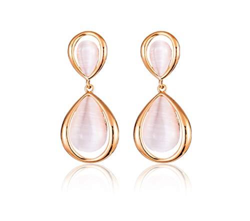 Pendientes de ópalo de oro rosa pendientes de plata pura para mujeres nobles y elegantes 2021 nueva moda exquisitos pendientes brillantes muestran una cara pequeña