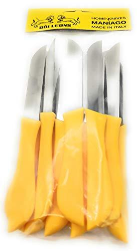 Juego de 12 cuchillos de mesa, frutas y verduras, cuchillo de acero inoxidable AISI420 de 8 cm. Mango de polipropileno amarillo limón – Cuchillo Pascotto | Doi Leons (amarillo limón)
