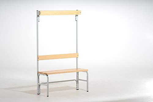 System-Umkleidebank Holz/Stahl, Typ B, lichtgrau, LxBxH cm: 101,5x37,5x165, Einseitig, mit Rückenlehne mit Hakenlehne