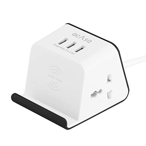 ACASA Flagship Pro Extension Cord with 5W Wireless Charging, 3 USB Ports & 2 Universal Power Sockets with Surge Protector for Home and Office (1.35 Meter Cable, Black & White)