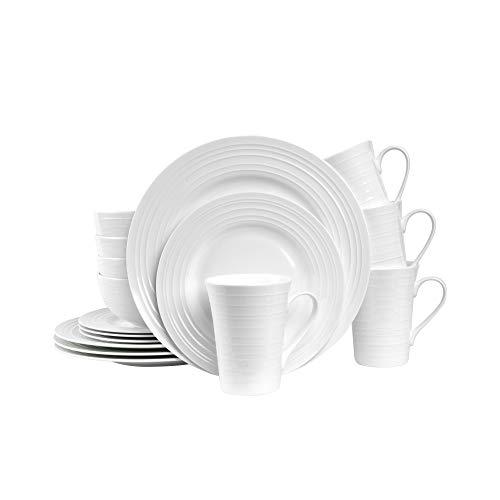 Stone Lain Round Swirl Design 32 Piece Dinnerware Set, White