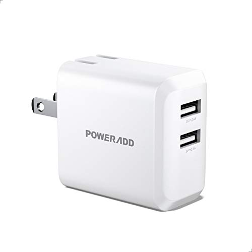 USB Wall Charger, POWERADD 24W Dual Port Energy Charger with Foldable Plug Compatible with iPhone 11/XS/XR/X/SE/8/7/6/iPad, Samsung S4/S5 and More