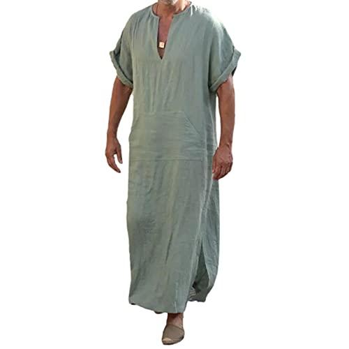Herren Leinen Robe mit V-Ausschnitt, Langes Kleid Nachthemd Schlafanzug Kurzarm Roben Nachtwäsche Mit Taschen (Hellgrün, XXL)
