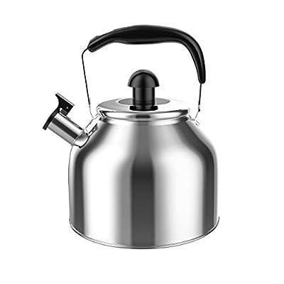 Tea Kettle Whistling, Stainless Steel Teakettle for All Stovetop With Ergonomic Handle - 3.9 Quart Whistling Teapot