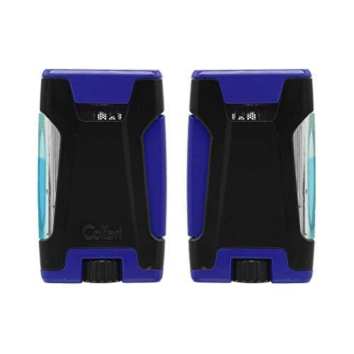 Colibri Rebel Double Flame Butane Torch Lighter – Peak Flame Design; Optimal Cigar Lighter (Blue)